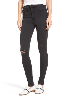 rag & bone/JEAN Ripped High Waist Skinny Jeans (Night with Holes)