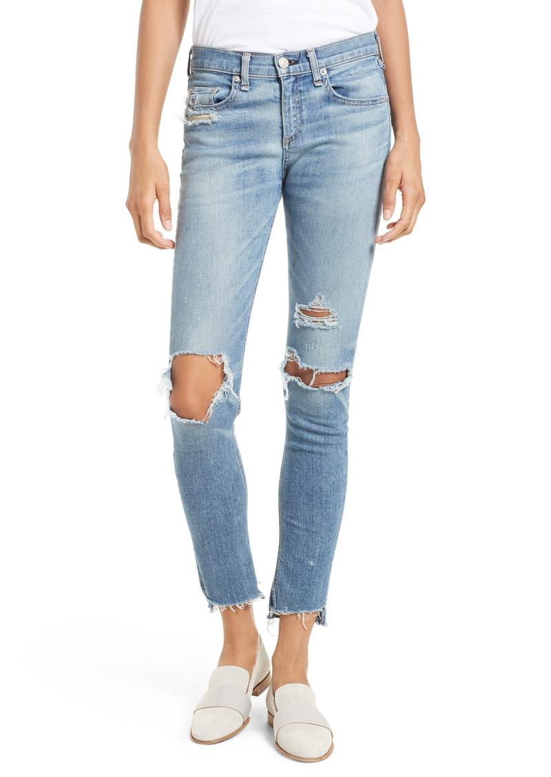 rag & bone/JEAN Ripped Step Hem Skinny Jeans (Commodore)