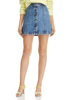 rag & bone Rosie Button-Front Denim Mini Skirt