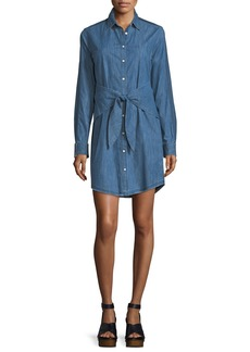 rag & bone/JEAN Sadie Button-Front Long-Sleeve Denim Shirtdress