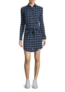 rag & bone/JEAN Sadie Plaid Tie-Waist Shirtdress