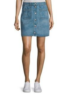 rag & bone/JEAN Santa Cruz Snap-Front Denim Miniskirt