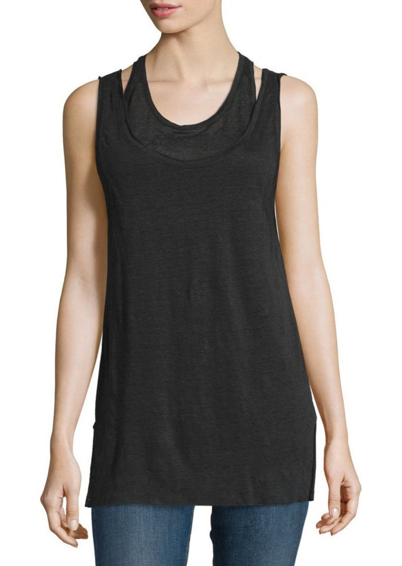 rag & bone/JEAN Scoop-Neck Double-Layer Tank