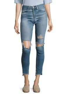 rag & bone/JEAN Step Hem Distressed Skinny Jeans/Commodore