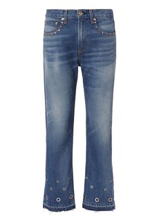 Rag & Bone/JEAN Studded Grommet Vintage Straight Crop Jeans