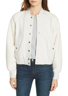 rag & bone Faux Shearling Sleeve Knit Bomber Jacket