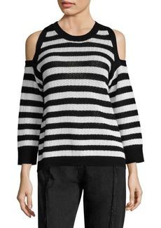 rag & bone/JEAN Tracey Striped Cold-Shoulder Cotton Sweater
