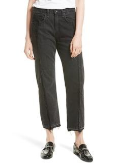 rag & bone/JEAN Two Tone Crop Jeans (Black Magnolia)