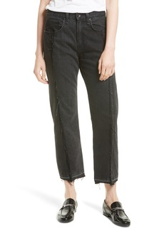 rag & bone/JEAN Two Tone Crop Jeans (Black Magnolia)