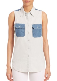 rag & bone/JEAN Utility Sleeveless Patch Shirt