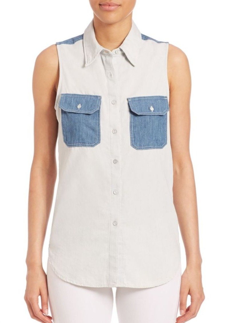 rag & bone/JEAN Utility Sleeveless Patch Shirt