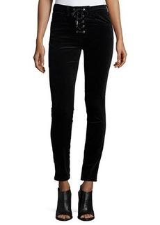rag & bone/JEAN Velvet Lace-Up High-Rise Skinny Pants