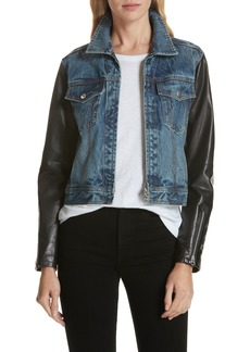 rag & bone Zip Nico Denim & Leather Jacket