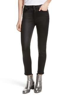 rag & bone/JEANS High Waist Ankle Skinny Jeans (Black Sateen)