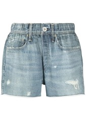 rag & bone ripped-detailing cotton denim shorts