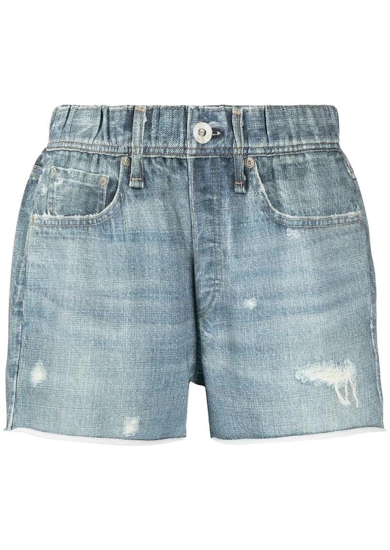 rag & bone ripped-detailing cotton denim shorts