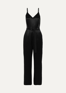 rag & bone Rochelle Belted Satin And Crepe Jumpsuit
