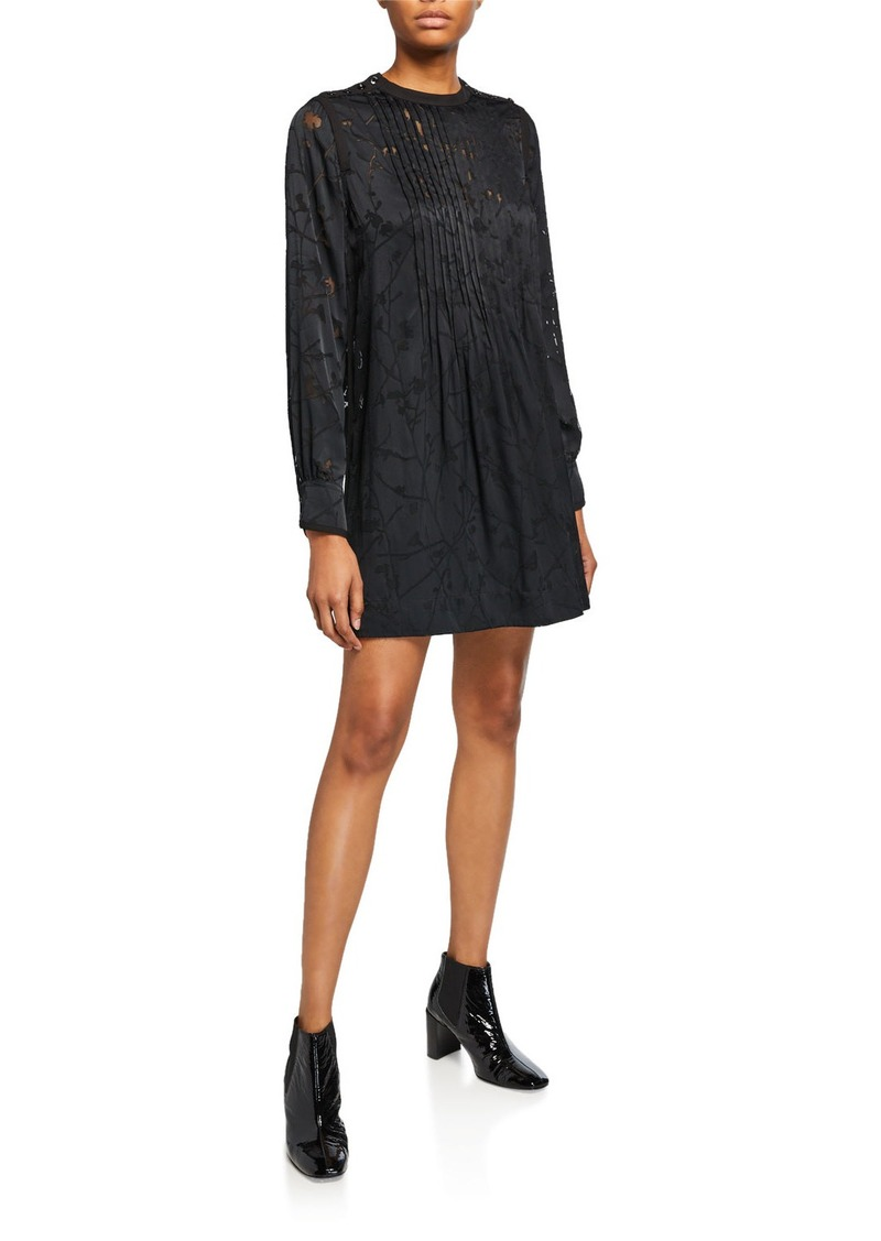 rag & bone Rubie Floral Pintuck Mini Dress w/ Buttons