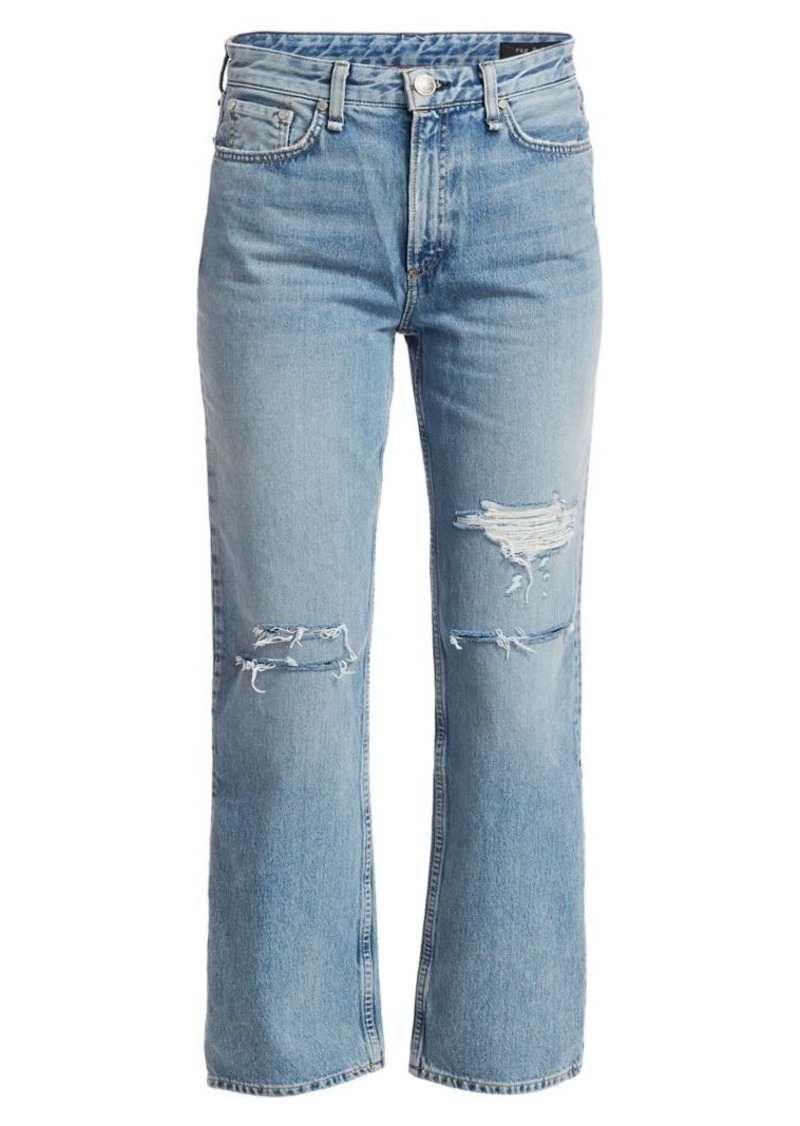 Ruth High-Rise Distressed Straight-Leg Jeans