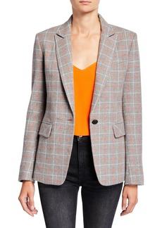 rag & bone Rylie Check One-Button Wool Blazer