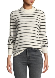 Rag & Bone Sam Striped Button-Shoulder Wool Sweater