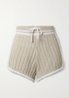 rag & bone Serena Striped Ribbed-knit Shorts