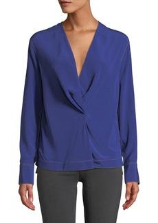 Rag & Bone Shields Drape-Front Silk Long-Sleeve Blouse