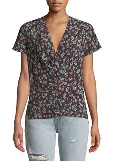 Rag & Bone Shields Floral V-Neck Short-Sleeve Top