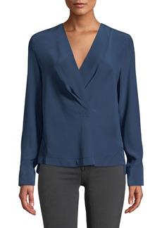 Rag & Bone Shields Silk Drape-Front Long-Sleeve Blouse