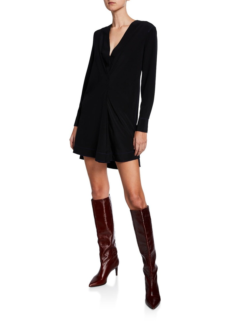 rag & bone Shields V-Neck Long-Sleeve Silk Dress