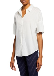 rag & bone Short-Sleeve Cotton Button-Up Top