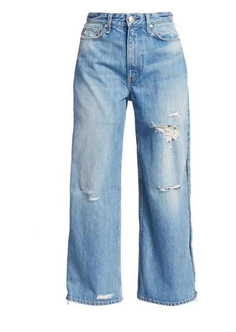 rag & bone Side-Zip Haru Wide-Leg Crop Jeans