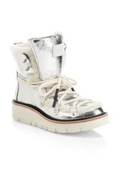 rag & bone Skyler Shearling-Lined Metallic Leather Hiking Boots