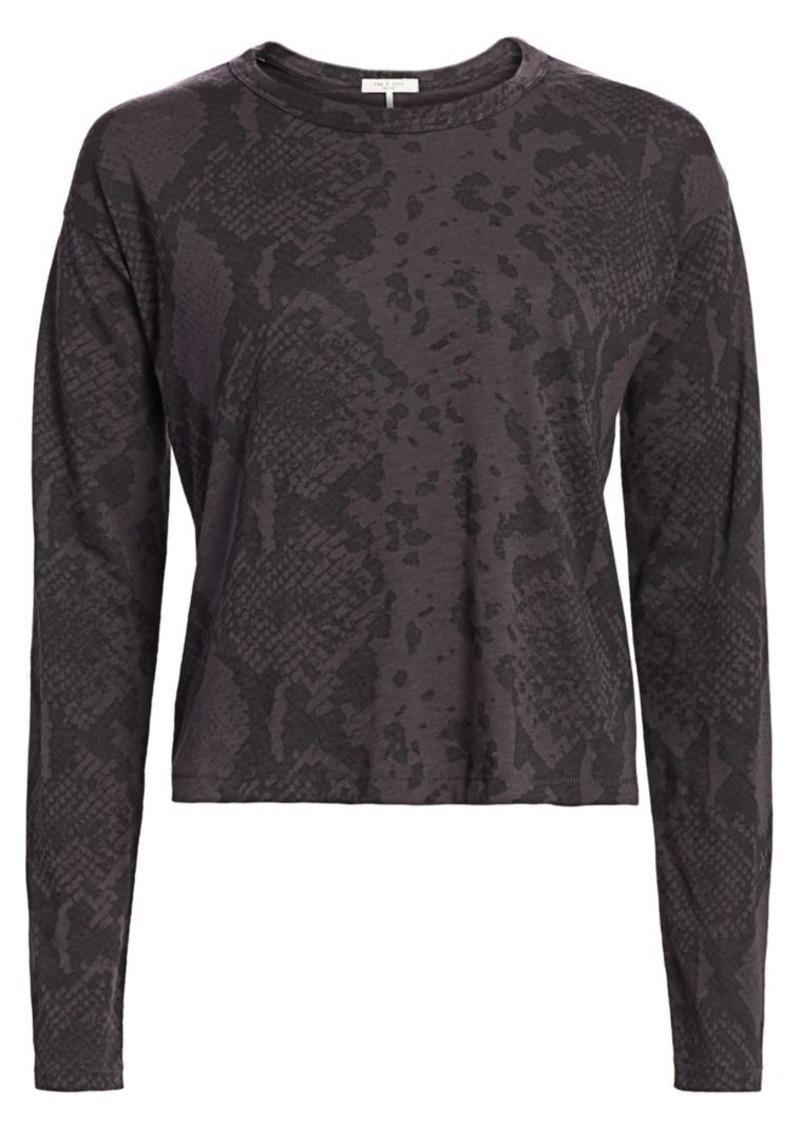 rag & bone Snakeskin Print Cropped T-Shirt