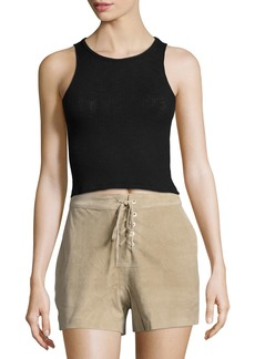 rag & bone Suede Lace-Up Shorts  Stone