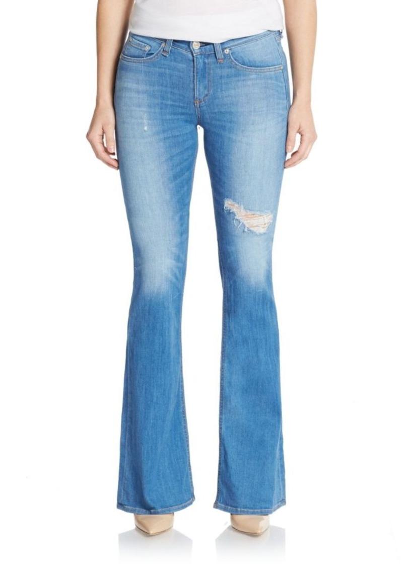 Rag & Bone The High-Rise Distressed Flare Jeans