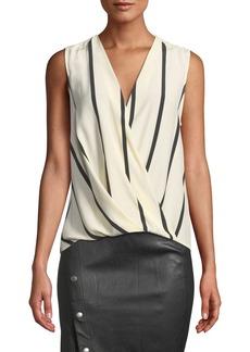 Rag & Bone Victor Sleeveless Striped Draped Silk Blouse