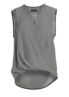 rag & bone Victor Stripe Sleeveless Chiffon Blouse