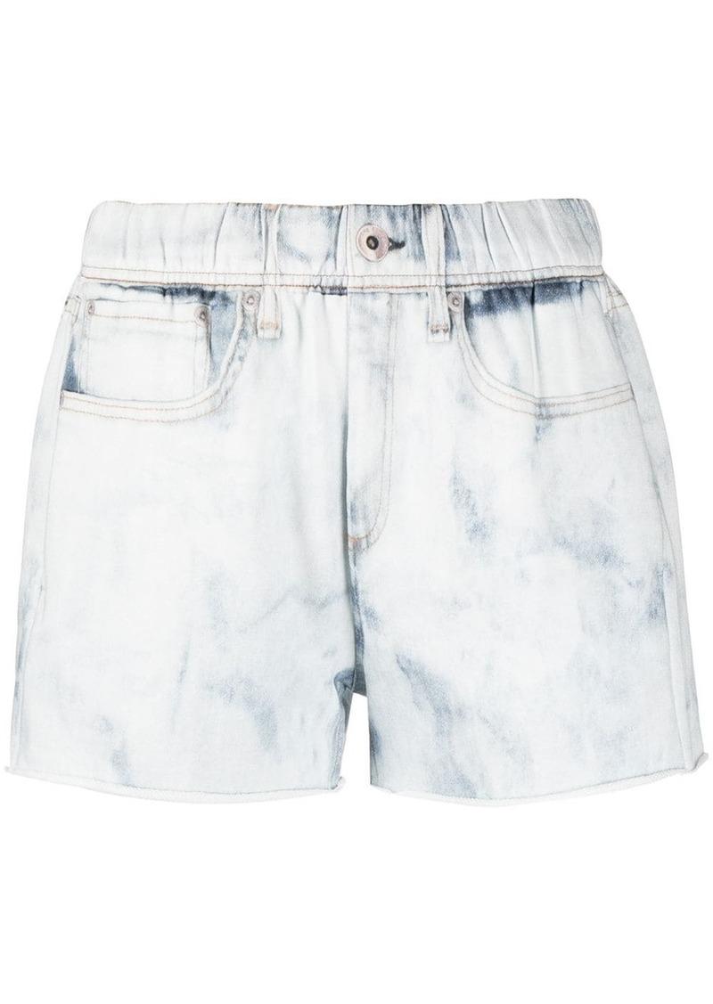 rag & bone washed-effect cotton denim shorts