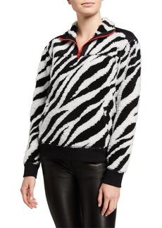 rag & bone Zebra-Print Half-Zip Pullover