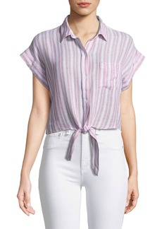 Rails Amelie Striped Linen Button-Down Top