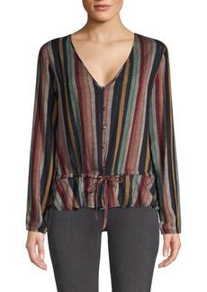 Rails Beaux Stripe Tie-Waist Button-Down Blouse