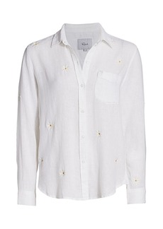 Rails Charli Daisy Embroidered Linen-Blend Blouse