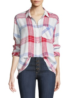 Rails Charli Linen-Blend Check Button-Front Pocket Shirt