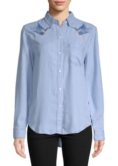 Rails Embroidered Birds Button-Front Shirt