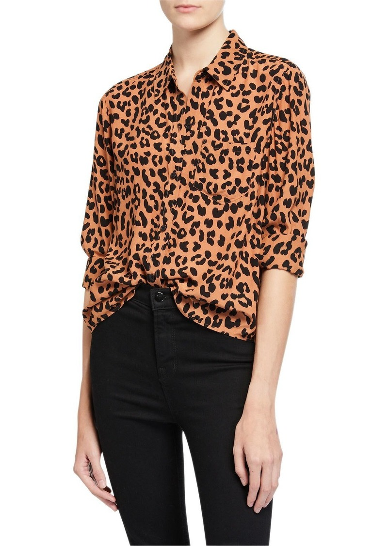 Rails Kathryn Jaguar-Print Button-Down Shirt
