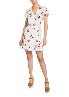 Rails Koreen Cherry-Print Mini Ruffle Wrap Dress