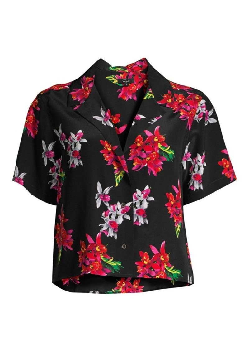 Rails Maui Floral Silk Short-Sleeve Blouse