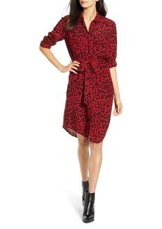 Rails Alix Red Leopard Print Long Sleeve Shirtdress