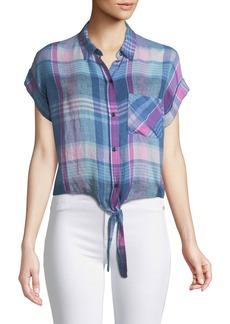 Rails Amelie Madras Plaid Linen Button-Down Top